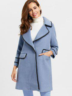 Piping Two Buttons Wool Blend Coat - Blue Xl