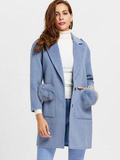 Two Buttons Lapel Collar Wool Blend Coat - Blue M