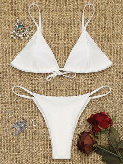 Cami Back Tied Thong Bikini Set - White S