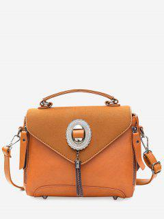 Metal Tassel Front Zip Handbag - Brown