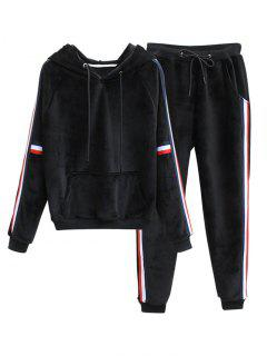 Striped Fuzzy Hoodie And Sweatpants - Black L