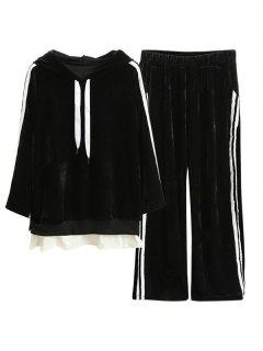 Velvet Striped Hoodie And Gaucho Pants - Black Xl