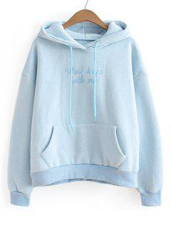 Fleece Letter Embroidered Hoodie - Azure