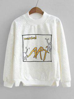 Graphic Velvet Sweatshirt - White