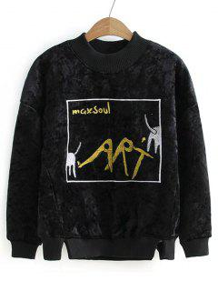 Graphic Velvet Sweatshirt - Black