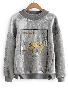 Graphic Velvet Sweatshirt - Gray