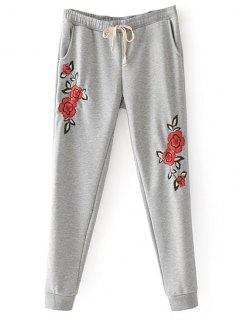 Floral Embroidered Jogger Pants - Gray L