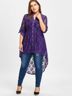 Long Sleeve High Low Lace Plus Size Top - Purple 5xl