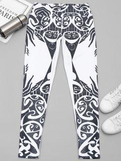 Printed Yoga Leggings - White And Black M