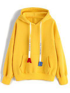 Kordelzug-übergroßer Buchstabe Gestickter Hoodie - Gelb