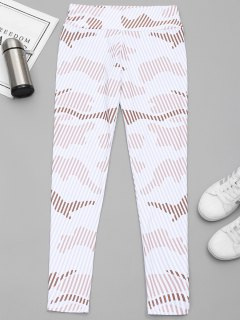 Striped Yoga Leggings - White M