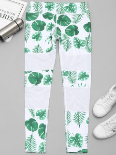 Leaf Mesh Panel Workout Leggings - White And Green M