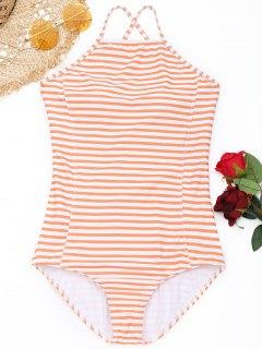 Schnür-gestreifter Badeanzug - Orange + Weiß S