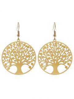 Tree Of Life Round Hook Earrings - Golden