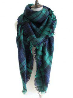 Checked Pattern Decorated Faux Wool Shawl Scarf - Deep Green