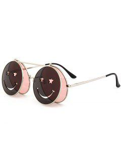 Funny Smiling Face Flip-open Circle Shaped Sunglasses - Light Pink