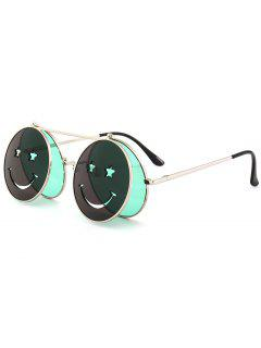 Funny Smiling Face Flip-open Circle Shaped Sunglasses - Green