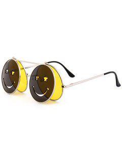 Divertida Cara Sonriente Abierto Gafas De Sol En Forma De Círculo - Amarillo