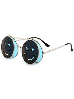 Funny Smiling Face Flip-open Circle Shaped Sunglasses - Light Blue