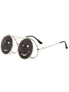 Funny Smiling Face Flip-open Circle Shaped Sunglasses - White
