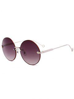 Arrow Embellished Rimless Round Sunglasses - Dark Gray