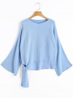 Bow Tied Pullover V Neck Sweater - Light Blue