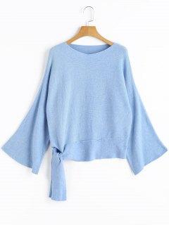 Pull à Encolure V Avec Noeud Papillon - Bleu Léger