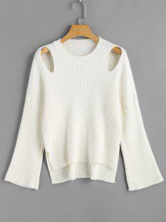 Ausgeschnittene Gerippte High Low Sweater - Weiß