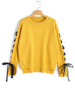 High Low - Pullover Mit Schnürung - Gelb