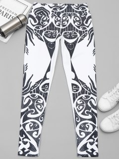 Printed Yoga Leggings - White And Black L