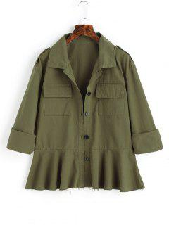 Frayed Hem Button Up Jacket With Pockets - Army Green M