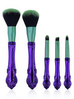 5 Pcs Professional Makeup Brushes Collection - Purple