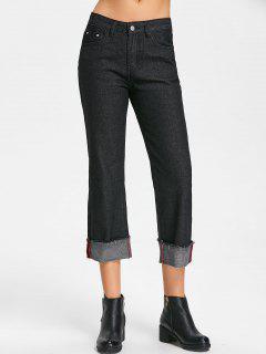 Raw Hem Straight Jeans - Black L