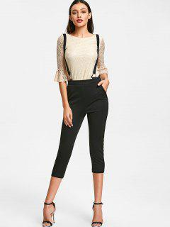 Lace Top And Cropped Suspender Pants - Beige Xl