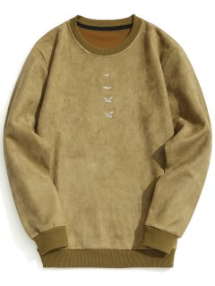 Embroidered Suede Sweatshirt - Khaki L