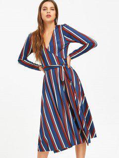 Long Sleeve Wrap Stripes Midi Dress - Blue M