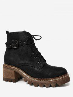 Faux Suede Lace Up Chunky Heel Boots - Black 39