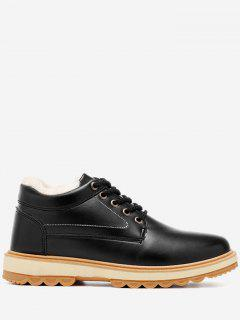 Stitching PU Leather Low Heel Casual Shoes - Black 40