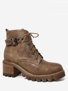 Faux Suede Lace Up Chunky Heel Boots - Brown 36