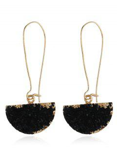 Natural Stone Half Circle Earrings - Black