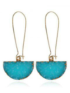 Natural Stone Half Circle Earrings - Lake Blue