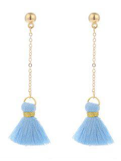 Alloy Metal Ball Tassel Chain Earrings - Blue