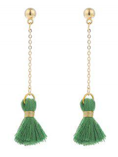 Alloy Metal Ball Tassel Chain Earrings - Green