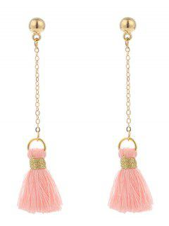 Alloy Metal Ball Tassel Chain Earrings - Pink