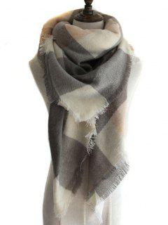 Checkered Pattern Artificial Wool Shawl Scarf - Light Coffee
