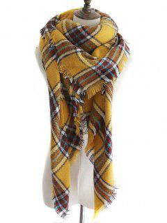 Tartan Pattern Embellished Artificial Wool Shawl Scarf - Ginger