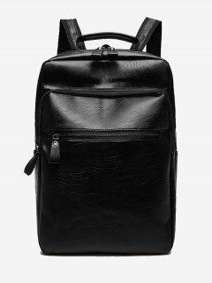PU Leather Multi Function Backpack - Black