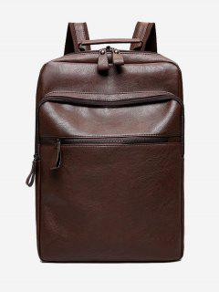 PU Leather Multi Function Backpack - Brown