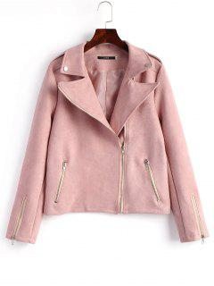Faux Suede Asymmetrical Zipper Jacket - Pink M