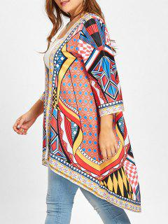 Plus Size High Low Ethnic Geometric Duster Coat